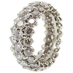Preowned Diamond Platinum Eternity Band (€7.635) ❤ liked on Polyvore featuring jewelry, rings, multiple, wedding rings, platinum diamond rings, white diamond ring, platinum band ring and band rings
