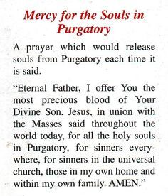 This prayer releases 1,000 souls from purgatory each time it is said