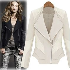 Aliexpress.com : Buy Fashion female irregular motorcycle leather clothing fashion slanting lapel tencel cotton patchwork PU leather jacket slim stand from Reliable Leather coat suppliers on Angela's store