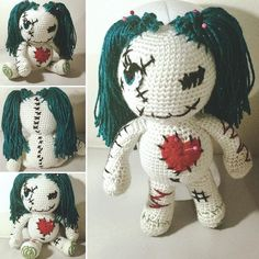 Meet Penny!  The Voodoo Doll ready to steal the heart of someone special.  #amigurumi #amigurumidoll #voodoodoll #breensskeins by breensskeins