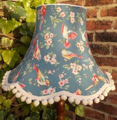 Vintage lampshade in blue birds & blossom fabric for standard lamp or ceiling
