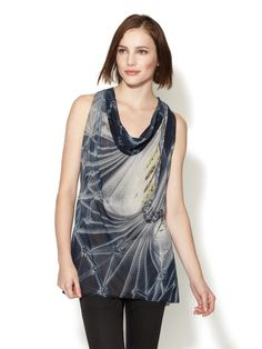 Ghost Floral Vault Stretch Silk Chiffon Top by Vera Wang