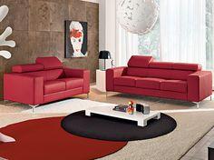 Composizione divano 3 posti + 2 posti in pelle bordeaux con poggiatesta reclinabile e piedini alluminio.