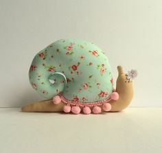 Snail toy, plush Snail doll, animal toy in mint turquoise shell with pink pompom trim.Toy and home decor. Cute nursery toy. Perfect gift