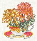 Free charts for monthly teacup and flowers--November Chrysanthemum Embroidery Art, Cross Stitch Embroidery, Cross Stitch Patterns, Cross Stitch Freebies, All Craft, Cross Stitch Flowers, Chrysanthemum, Needlework, Tea Cups