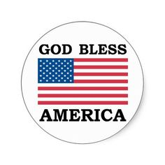 God Bless America Round Stickers
