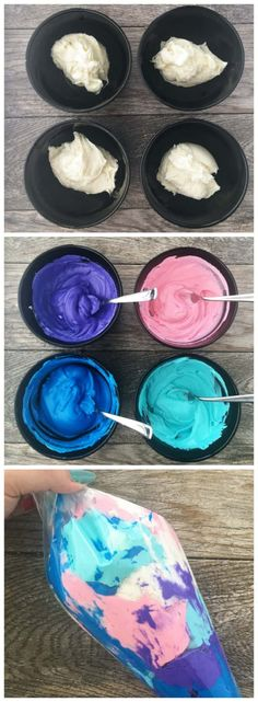 For a more advanced cupcake, you can create galaxy frosting using regular Pillsbury Creamy Supreme® Vanilla Flavored Frosting and food coloring! You will need half a can of frosting per color. I had five colors (including white) so I used three cans. Cupcakes Amor, Themed Cupcakes, Birthday Cupcakes, Cupcake Frosting, Baking Cupcakes, Cupcake Cakes, Frosting Tips, Cupcakes Galaxie, Space Cupcakes