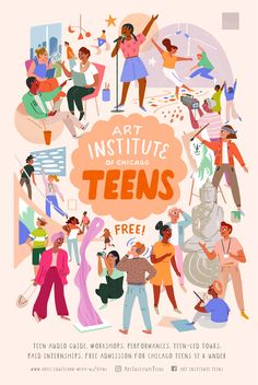poster design illustration Art Institute of Chicago Teen Programs Poster on Behance Event Poster Design, Graphic Design Posters, Graphic Design Inspiration, People Illustration, Character Illustration, Illustration Art, Teen Posters, Teen Art, Creative Posters