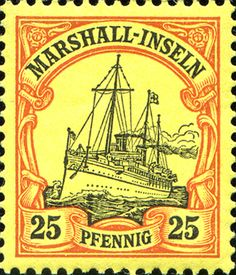 "Marshall Islands 1901 Yacht ""Hohenzollern II"" Issue  [MiNr 17, Sc 17] 25pf"