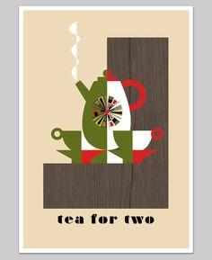 Tea for two Art Print | Retro Laden via Etsy