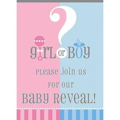 Gender Reveal Party Invitations, 8pk