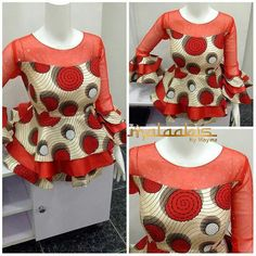 Ankara peplums are so in! Kano based fashion designer Maymunah Anka of MALAABIS_BY_MAYMZ shows more of very stylish and elegant about Ankara peplum tops. And yes to the ruffle and… African Dresses For Kids, African Maxi Dresses, African Fashion Ankara, Latest African Fashion Dresses, African Print Fashion, African Attire, African Wear, Ankara Peplum Tops, Ankara Blouse