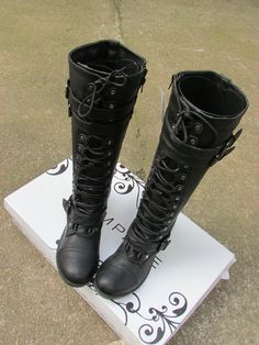 Free ship famous brand Flat high woman motorcycle boots lace up over the knee leather boots motorcycle boots plus size EUR36-42 $39.90