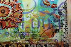 I love all the colorful layers!! MarveLes Art Studios: Journal #2 ~ Copper Flowers