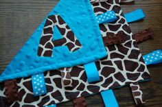 Personalized Giraffe and Aqua Taggie Blanket by kristensfaves, $17.00