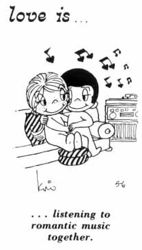 Love is... Listening to romantic music together