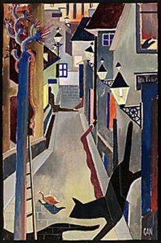 "Gösta Adrian-Nilsson a.k.a. GAN (Swedish, 1884-1965) - ""Kattor i gränd"", 1928"