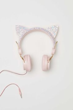 Adjustable on-ear headphones. Ears at top with glittery sections. Fits devices with a mm in. Length of cord approx. Girly Things, Cool Things To Buy, Stuff To Buy, Pink Headphones, Wireless Headphones, Unicorn Fashion, Accessoires Iphone, Kawaii Accessories, Accesorios Casual