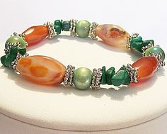 Amber w Green Pearls Rhodium Artisan Jewelry Bracelet Hand Crafted