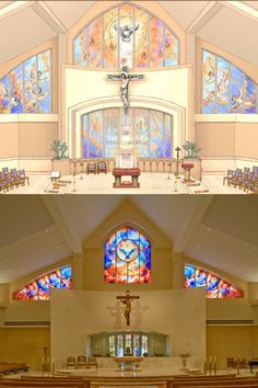 Before and After, artistic rendering and completed environment, St. Paul the Apostle Catholic Church, Nassau Bay, TX. New construction. Liturgical and artistic design by Rohn & Associates Design.