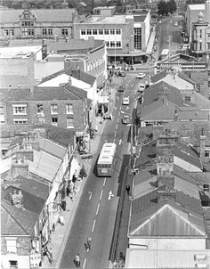 MCL/4/17 Black and white aerial photograph showing Westfield Street, St.Helens, 1974. *TRAY - is that me dad down there?* MCL - Clare Collection 4 - Black and white photographs taken from Beecham's Tower, St.Helens
