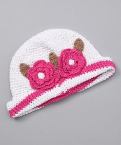Take a look at this White & Pink Layla Crocheted Bucket Hat by Marili Jean on #zulily today!