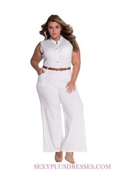 2df7bba2337 Crystal White Button Front Belted Plus Size Jumpsuits White Belt