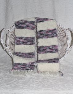 Angel Hair Gray Pink and White Striped Scarf by StitchinGalTX
