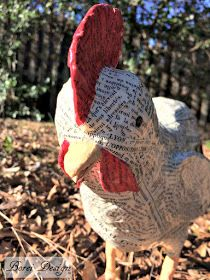 French Farmhouse Paper Mache Rooster or Chicken Tutorial