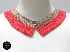 knitted collar coral beige  red pink cotton by theknitkid on Etsy, €29.90