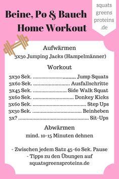 Bauch, Beine, Po Workout - Cheat Sheet! Wie die Übungen funktionieren, erkläre ich euch im dazugehörigen Beitrag!