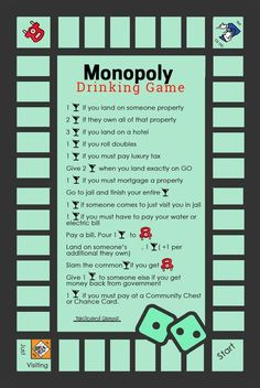 How To Play Monopoly Drinking Game Rules & Beer-Opoly Board Game Monopoly Drinking Game, Add these rules to your next Monopoly Game and it will surely create a twist. Monopoly Drinking Game rules like drink, give drinks for getting taxes back, take a drin Monopoly Drinking Game, Drinking Game Rules, Drinking Games For Parties, Monopoly Game, Drinking Board Games, Friends Drinking Game, Monopoly Party, Adult Drinking Games, Drinking Games