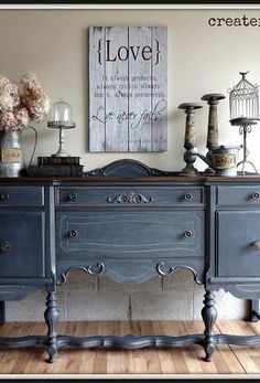 DIY Antique Buffet Makeover - antique buffet in ash from fusion mineral paint, painted furniture, repurposing upcycling - Refurbished Furniture, Paint Furniture, Repurposed Furniture, Furniture Projects, Furniture Makeover, Vintage Furniture, Home Furniture, Rustic Furniture, Modern Furniture