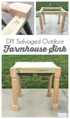 Learn how to build a base for an outdoor cast iron farmhouse sink using salvaged materials and pressure-treated lumber. (To help with the muscle aches and pains I experienced after lifting that heavy cast iron sink, I use TYLENOL®️️️ 8 HR Muscle Aches Kitchen Sink Window, Outdoor Kitchen Cabinets, Diy Cabinets, Kitchen On A Budget, Kitchen Sinks, Outdoor Kitchens, Cast Iron Farmhouse Sink, Cast Iron Sink, Farmhouse Style