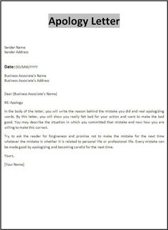 Customer Apology Letter - This letter template apologizes to a ...