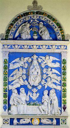 Andrea della Robbia, Assunzione tra i SS. Francesco, Antonio da Padova, Girolamo (?) e Antonio Abate, 1514. Pieve Santo Stefano, San Francesco.jpg