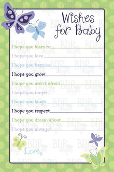 Beautiful Butterfly Wishes for Baby4x6  Set of 20 by BDPDesigns, $10.00