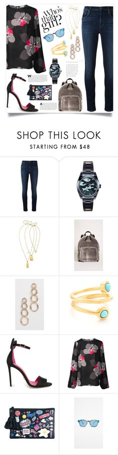 """""""Fashion is fad but style is eternal"""" by monica022 ❤ liked on Polyvore featuring J Brand, Madewell, Kate Spade, Pamela Love, Lizzie Fortunato, Oscar Tiye, P.A.R.O.S.H., Anya Hindmarch and Illesteva"""