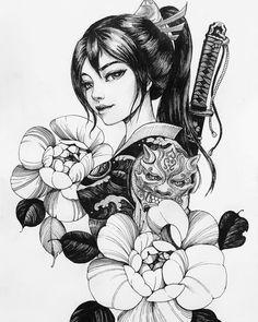 Geisha Tattoos, Geisha Tattoo Design, Irezumi Tattoos, Tattoos Anime, Japanese Tattoo Art, Japanese Tattoo Designs, Japanese Sleeve Tattoos, Geisha Drawing, Geisha Art
