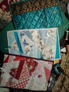 carteiras feitas com a técnica crazy do patchwork