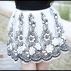 Embroidered Floral Mini Tulle Skirt 🌟Host Pick🌟New With Tags Retail. A lovely and feminine white, mini tulle skirt. Featuring a beautiful floral embroidery, with a black outline. Featured on @shesalyssarenee.   Shell: 70% Acrylic, 30% Polyester | Contrast: 100% Polyester | Lining 1 & 2: 100% Polyester  📌***Multiple Sizes Available! Tap Your Size Below 👇***📌 Ark & Co Skirts Mini