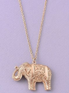 Elephant Pendant Necklace. $18. This pendant necklace features a metal elephant pendant with intricate detailing on a long chain. Chain Length: 30 inches with 3 inch extender. Lobster clasp closure.