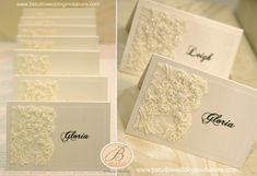 Direct guests to their table at your winter wonderland reception with these elegant lace place cards. #winter wedding #place cards