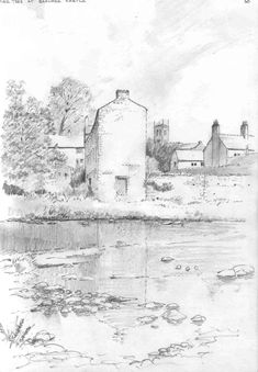 Old Mill - pencil sketch by Malcolm Coils Barnard Castle, Sketch, Pencil, Snow, Painting, Outdoor, Art, Sketch Drawing, Outdoors