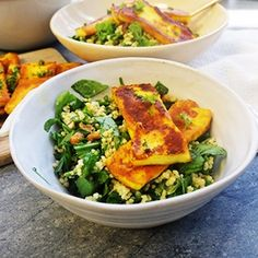 Healthy halloumi and millet salad