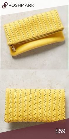 """Anthropologie Amitie Vegan Leather Clutch – NWT Anthropologie Amitie Vegan Leather Clutch – DETAILS: Retail $78 – Color: Yellow - 7""""H, 11""""W, 0.25""""D - 24"""" strap drop - Polyurethane vegan leather; cotton lining - Woven detail - Removable chain strap - Two compartments - Zip closure - Imported - Style No. 37382777 – Brand New with Tags Anthropologie Bags"""