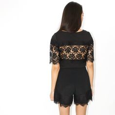 Top TESSA en dentelle - Black lace top STL Paris