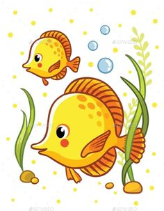 Buy Sea with Two Yellow Fishes by svaga on GraphicRiver. Cute sea yellow two fishes in vector illustration. Tropical reef fish isolated on white background. Easy Fish Drawing, Fish Drawing For Kids, Drawing Lessons For Kids, Fish Drawings, Art Drawings For Kids, Art Drawings Sketches, Animal Drawings, Cute Drawings, Art For Kids