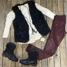 """""""#NEWARRIVALS  #Cream #Longsleeve #Tee $24.99 S-L #FurVest $59.99 S-L #FlyingMonkey #Coated #skinnyjeans $76.99 24-26, 28, 29 #Knit #Booties $39.99 6-9, 10 #PinkPanache #Necklace $36.99 & #Earrings $28.99 We #ship! Call to order! 903.322.4316 #shopdcs #shoplocal #love #pink #fur"""" Photo taken by @daviscountrystore on Instagram, pinned via the InstaPin iOS App! http://www.instapinapp.com (09/21/2015)"""