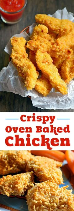 Easy crispy oven baked chicken recipe your family will love for dinner! Only 10 minutes of prep time for healthy oven fried chicken! Make nuggets for kids or strips for dipping. (easy food recipes for dinner) Baked Chicken Strips, Crispy Oven Baked Chicken, Baked Chicken Tenders, Chicken Nuggets, Cooking Recipes, Healthy Recipes, Healthy Meals, Cooking Ribs, Fries In The Oven